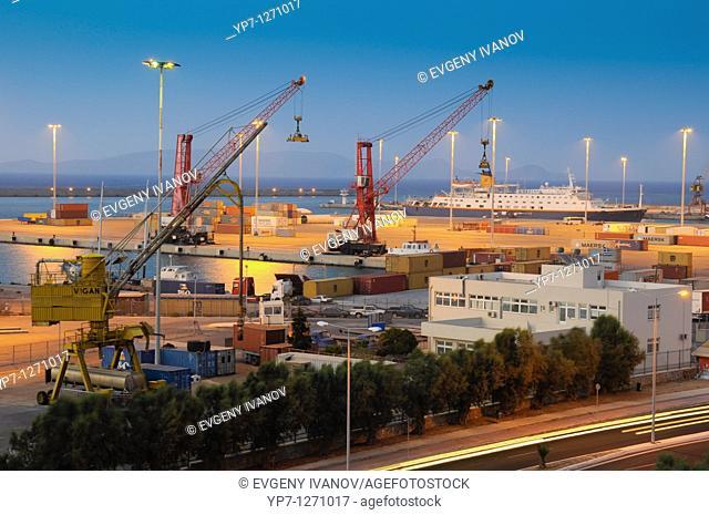 Night photo of cargo sea port in Heraklion, Crete Greece