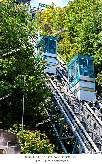 The Funiculaire du Vieux-Québec, Old Quebec Funicular, Quebec City, Canada