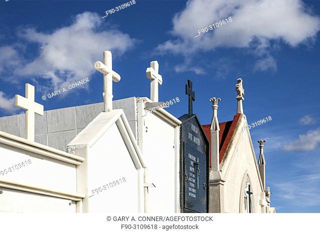 Mausoleums at Cemetery on Dia de Todos los Santos (All Saints' Day), in Salobreña, Granada, Spain