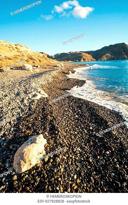 Las Negras beach in the heart of Cabo de Gata Natural Park, Andalusia, Spain