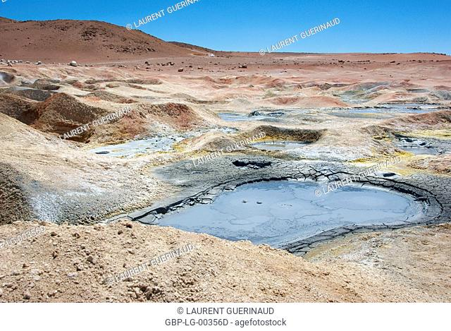 Gueisers, Reserves national of Andean fauna Eduardo Abaroa, Desert of Lipez, Department of Potosi, Sud Lipez Province, La Paz, Bolívia
