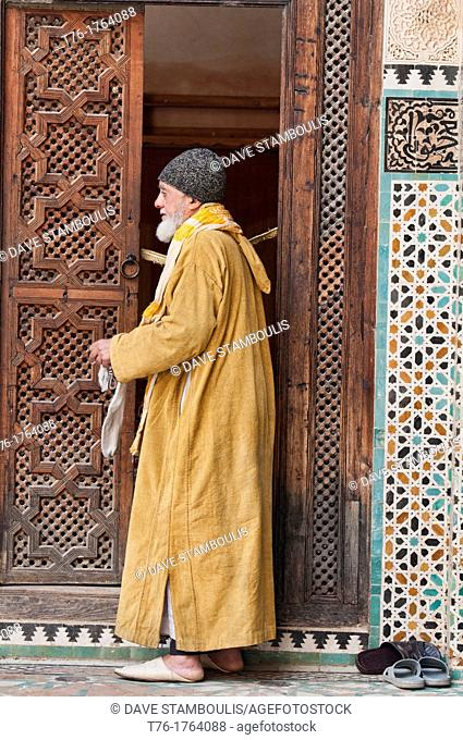 pilgrim at the Medersa Bou Inania in ancient Fez, Morocco
