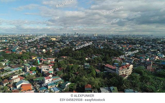 Aerial view of Manila city with skyscrapers and buildings. Philippines, Luzon. Aerial skyline of Manila