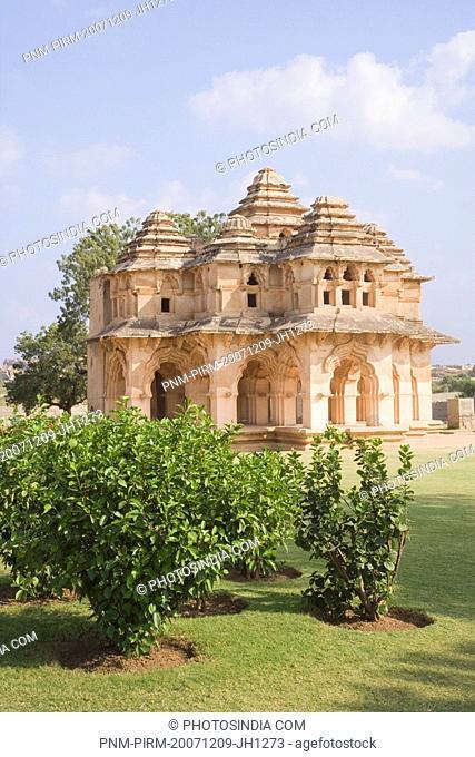 Temple in the lawn, Lotus Temple, Hampi, Karnataka, India