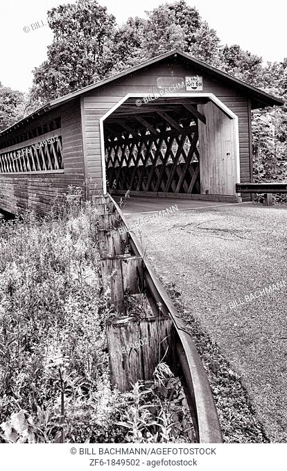 Covered Bridges of Vermont by river Henry Bridge in Bennington VT 1840 wood wooden red