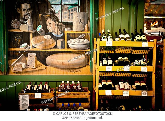 Sales of traditional products -wine- in the market and selected market Viktualienmarkt, Munich, Germany
