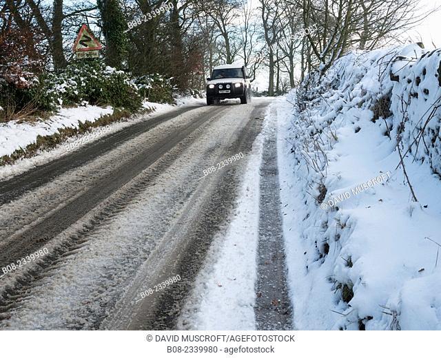 country lane in snow,near Matlock,Derbyshire,Britain (December 2014)