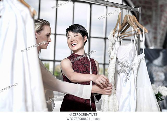Wedding dress designer and bride to be