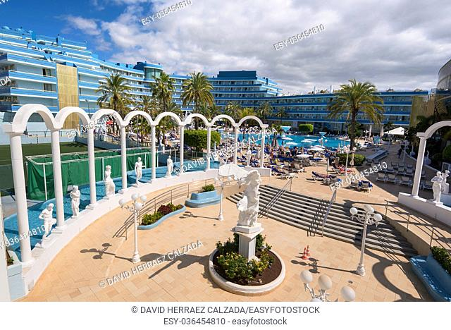 Mediterranean palace hotel in Las Americas in Adeje, Tenerife, Spain. Las Americas is one of the most popular and touristic resorts, in Tenerife South area