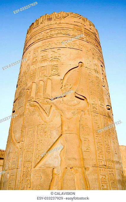 Single pillar with heiroglyphics at the Temple of Kom Ombo, Egypt