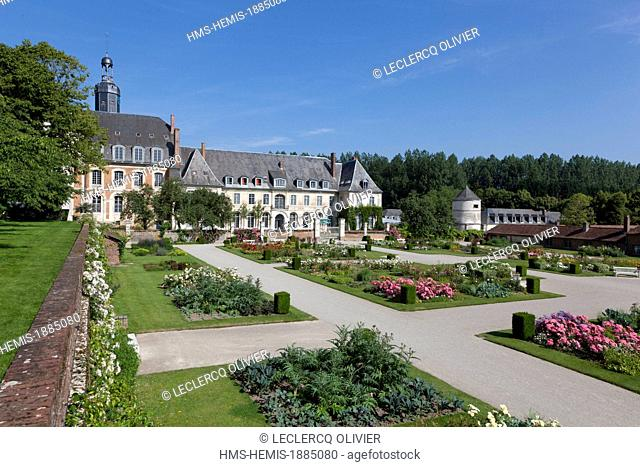 France, Somme, Argoules, abbey and gardens of Valloires, Cistercian abbey dated 18th century, the gardens made by the landscape architect Gilles Clement