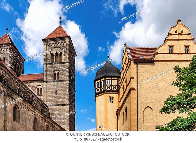 Castle and Collegiate Church of St Servatius on the Schlossberg, Quedlinburg, Saxony-Anhalt, Germany, Europe, No Property Release available!