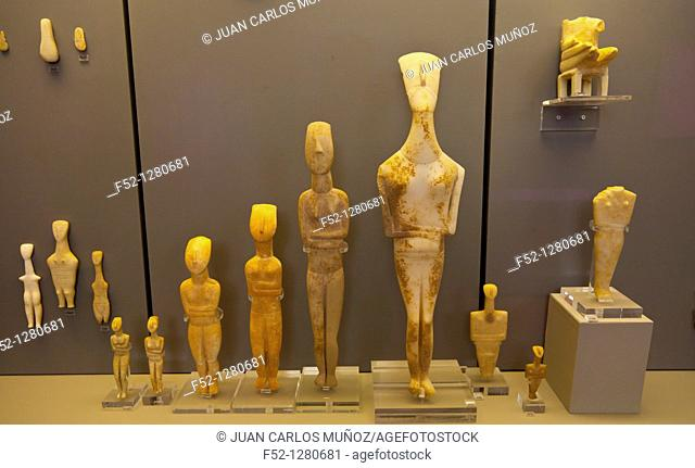 Cycladic statues, National Archaeological Museum, Athens, Greece