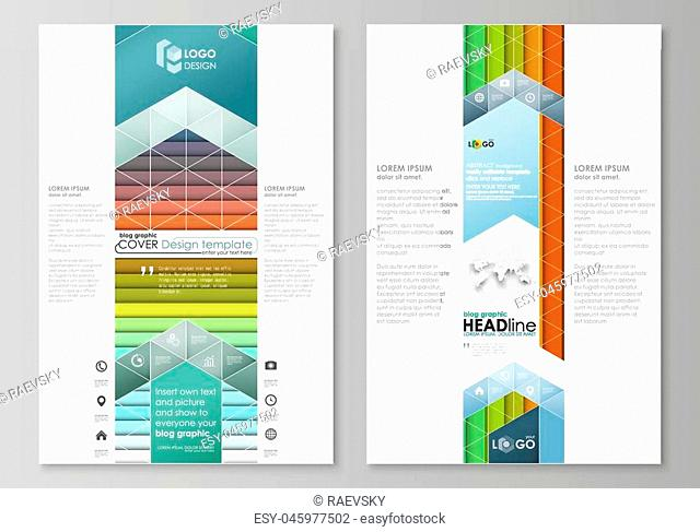 Blog graphic business templates. Page website design template, easy editable abstract flat layout, vector illustration. Bright color rectangles