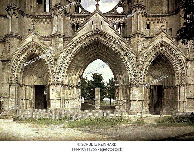 War, Europe, world war I, 1917, Europe, world war, color photo, Autochrome, F. Cuville, western front, department Aisne, France, Soissons, church, abbey, ruins