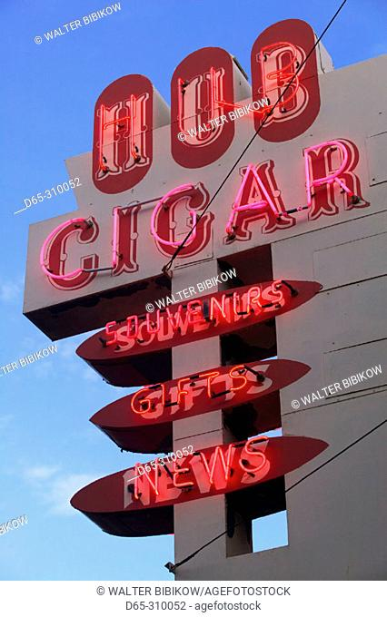 Hub cigar store neon sign at Whyte Avenue, Old Strathcona area. Edmonton. Alberta, Canada