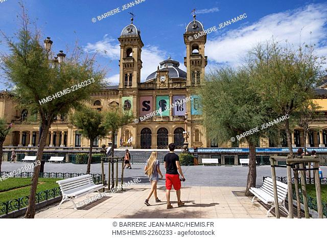 Spain, Basque Country, Guipuzcoa province (Guipuzkoa), San Sebastian (Donostia), European capital of culture 2016, the Ayuntamiento (town hall)