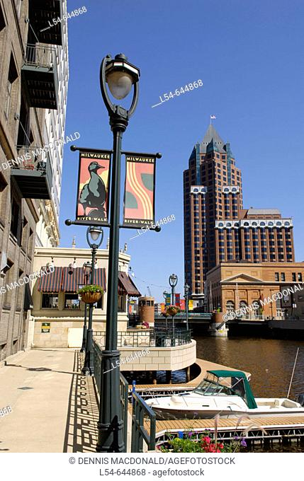 River Walk along the Milwaukee River in the city of Milwaukee Wisconsin. USA