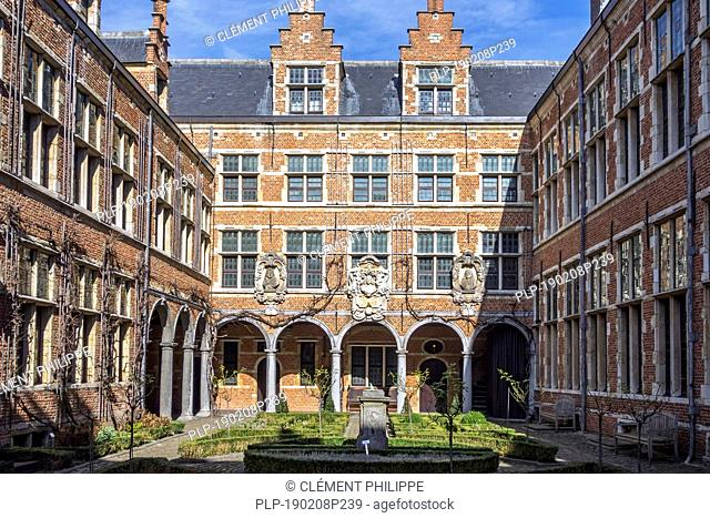 Courtyard of the Plantin-Moretus Museum / Plantin-Moretusmuseum about 16th century printers, Antwerp, Flanders, Belgium