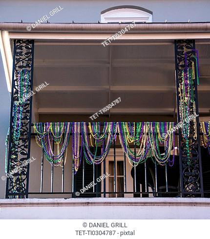 Decoration of balcony during Mardi Gras