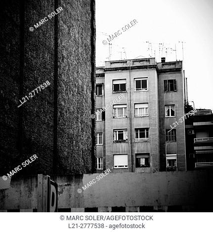 Apartment building, facade and windows. Barcelona, Catalonia, spain
