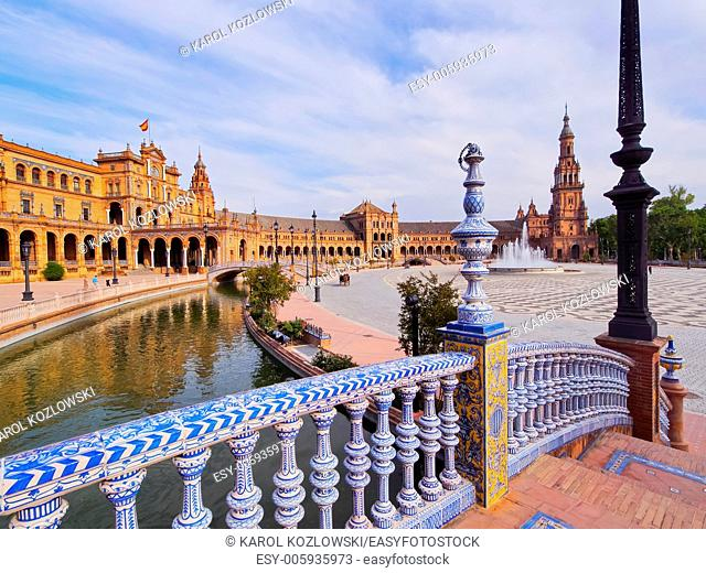 Water Canal on Plaza de Espana - Spanish Square in Seville, Andalusia, Spain