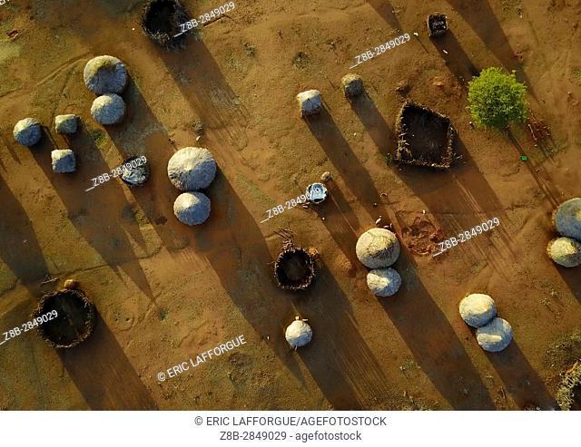 Aerial view of a Borana village, Oromia, Yabelo, Ethiopia