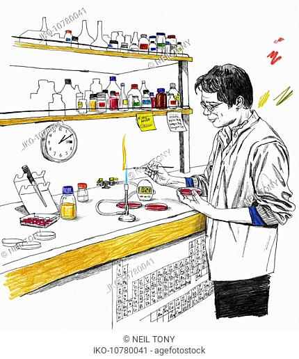 Scientist using bunsen burner in laboratory