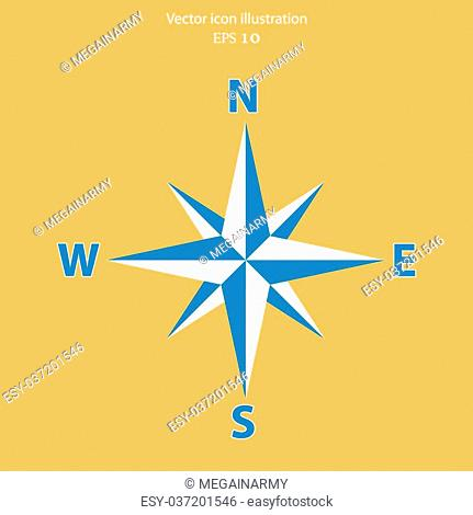Vector compass web flat icon. Eps 10 illustration