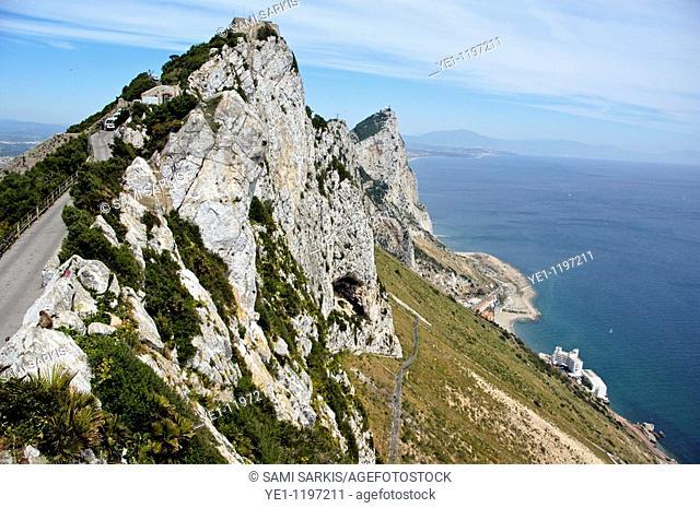Rock of Gibraltar seen from a nature reserve, Gibraltar
