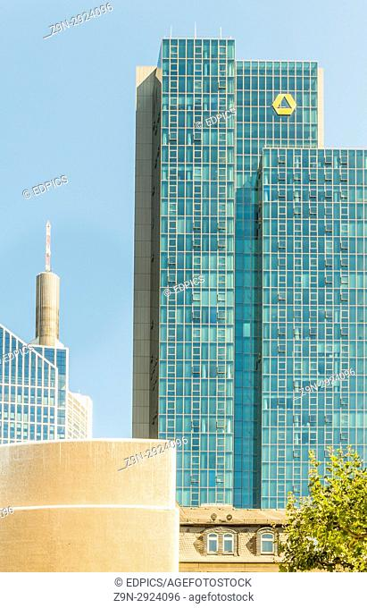 commerzbank tower and partial view of maintower and taunus tower, financial district, frankfurt/main, hesse, germany