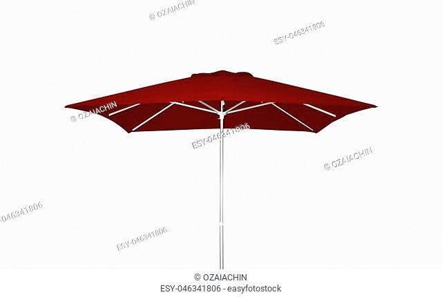 Red beach umbrella isolated on white