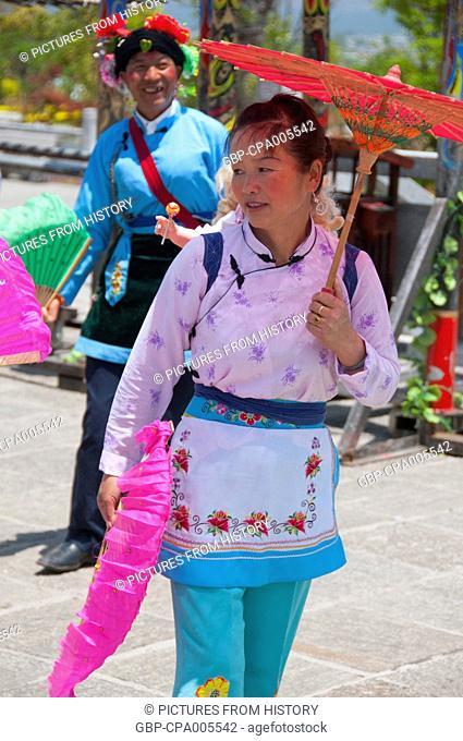 China: Bai woman, Bai music and dance festival at Santa Si (Three Pagodas), Dali, Yunnan