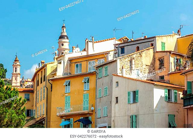 Riviera town Menton view with church in summer