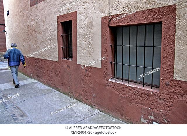 Street, windows, Camprodon, Ripolles, Catalonia, Spain