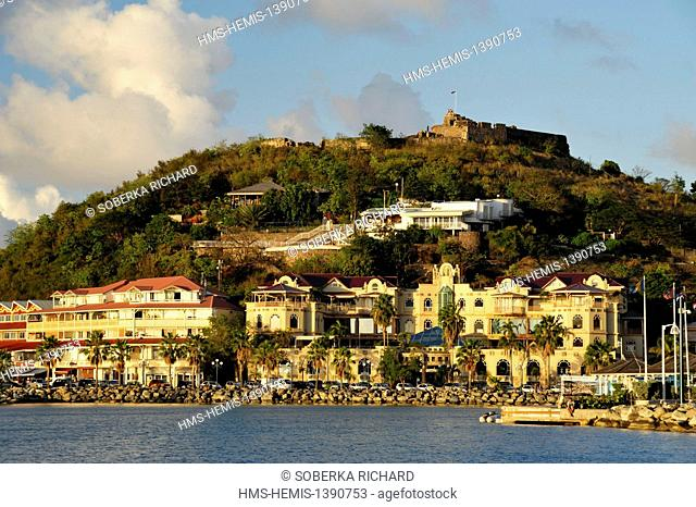 France, French West Indies, Saint Martin island, Marigot, Fort Saint Louis atop the hill overlooking the mall and the port