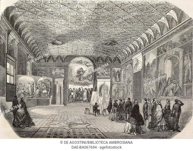 Men and women admire works of art inside a hall of the Gallerie dell'Accademia, Venice, Italy, illustration from a drawing by Giovanni Roberti