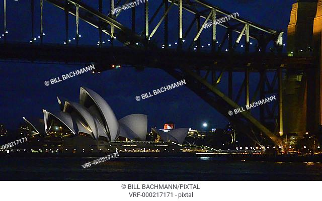 Sydney Australia night view of Sydney Harbour with Opera House and Harbour Bridge with skyline in New South Wales Australia