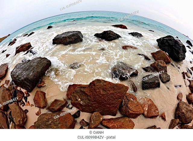 Fish eye view of Bai Nhat Beach on Con Dao Island, Vietnam , Vietnam