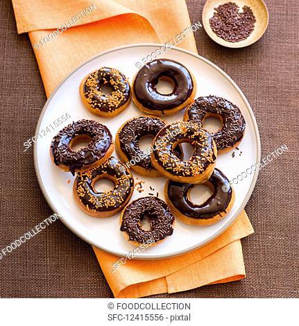 Doughnuts with chocolate glaze for Halloween