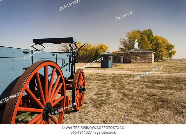 USA, Kansas, Larned, Fort Larned National Historic Site, mid-19th century military outpost, protecting the Santa Fe Trail, wagon and blockhouse stockade-jail