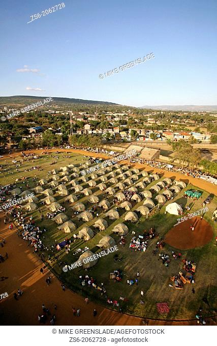 IDP camp, Afhara Stadium, Nakuru, Kenya set up by Shelterbox and the Kenyan Red Cross following post-election tribal violence, Jan 2008