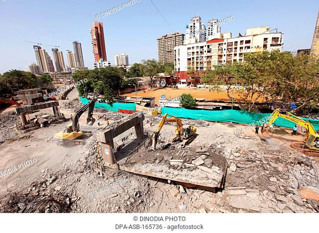 Sant dnyaneshwar flyover demolished at lalbaug ; Bombay Mumbai ; Maharashtra ; India