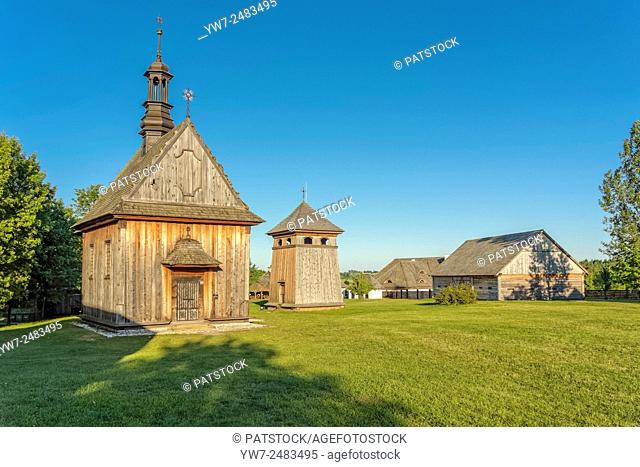 Church from Rogow and belfry from Kazimierza Wielka in Tokarnia open-air museum, Poland