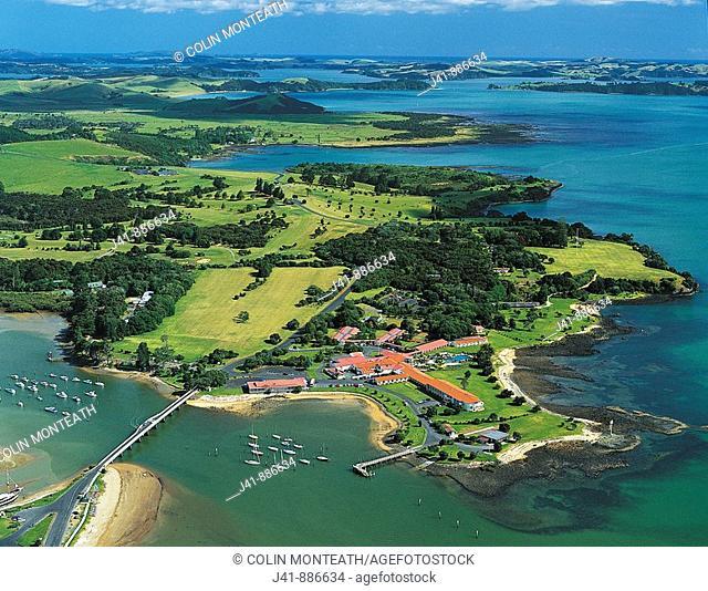 Aerial view of Waitangi Bay of Islands New Zealand