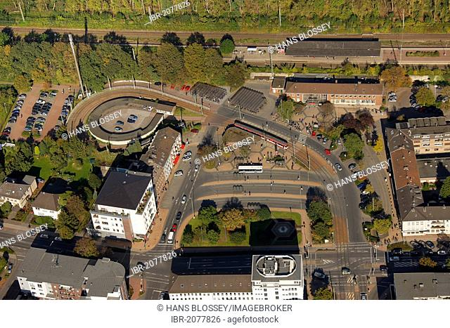 Aerial view, main station of Dinslaken, Ruhr Area, North Rhine-Westphalia, Germany, Europe