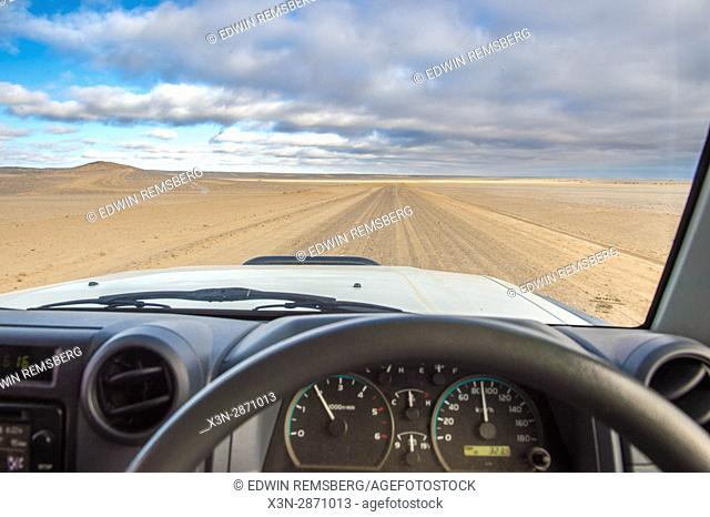 Driving along Namibia's Skeleton Coast, Africa
