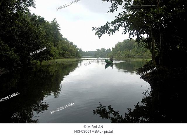 PERIYAR RIVER IN MONSOON, THATTEKAD BIRD SANCTUARY, ERNAKULAM DIST