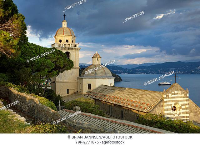 Evening sunlight on Church of San Lorenzo (12th C. ), Portovenere, Liguria, Italy