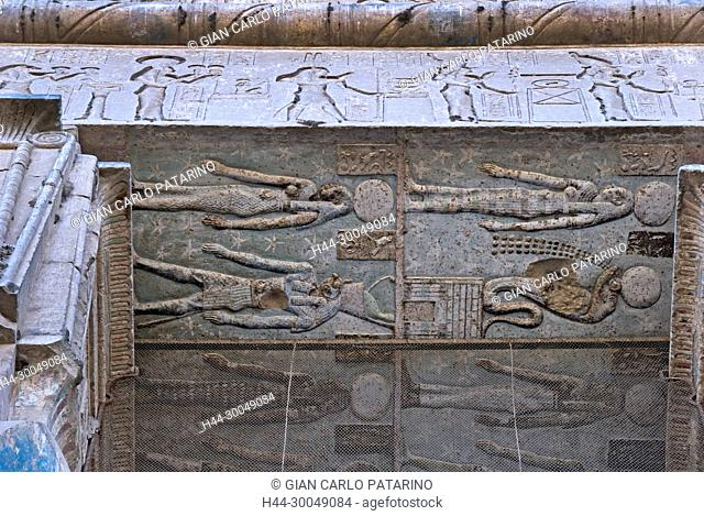 Egypt,Dendera,Ptolemaic temple of the goddess Hathor.View of ceiling with coulored figures
